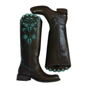Brown Turquoise Embroidered Riding Boots Western